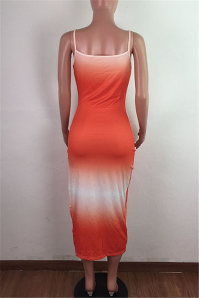 Color Changing Split Midi Dress