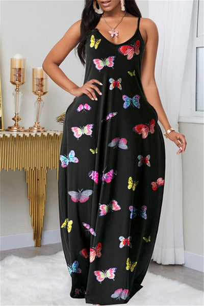 Butterfly Printed Cami Maxi Dress