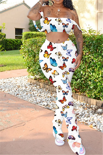 Butterfly Printed Ruched Sets