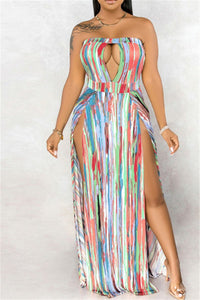 Hollow Out Printed Split Tube Dress