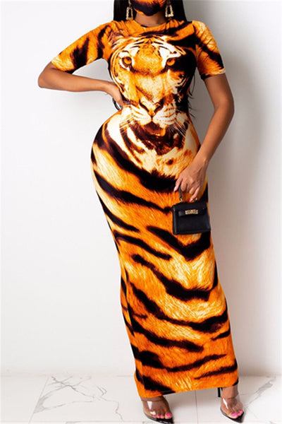 Animal Head Printed Maxi Dress