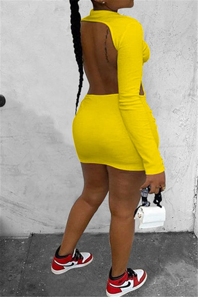 Solid Color Open Back Dress