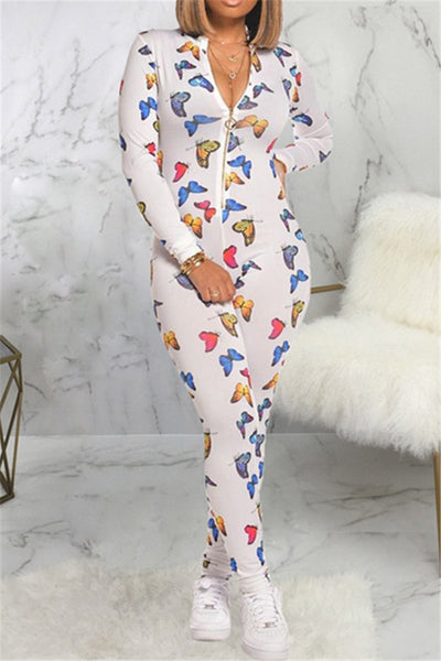 Butterfly Printed Bodycon Zipper Jumpsuit