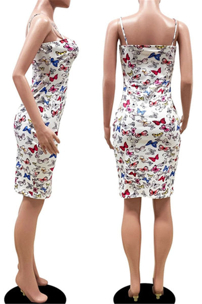 Butterfly Printed Bodycon Cami Dress