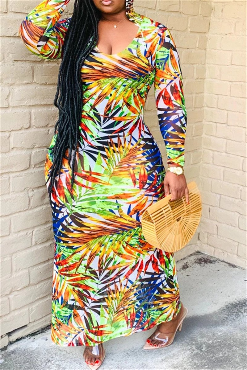 Boho Style Printed Hooded Maxi Dress