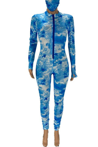 Tie Dye Ruched Bodycon Jumpsuit