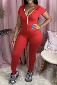 Solid Color Hooded Zipper Jumpsuit