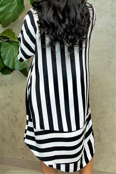 Irregular Hem Stripe Shirt Dress