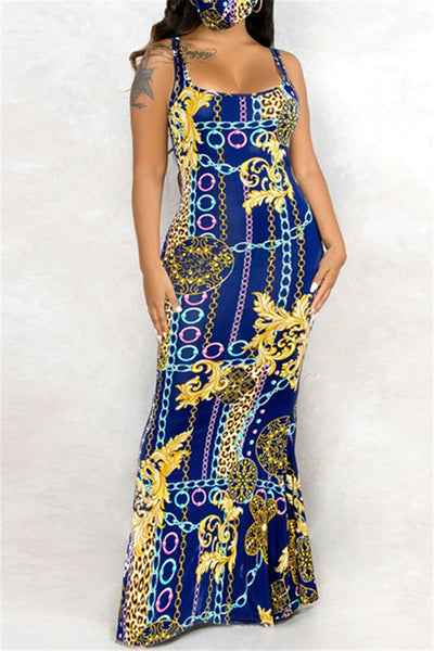 Chain Printed Cami Maxi Dress