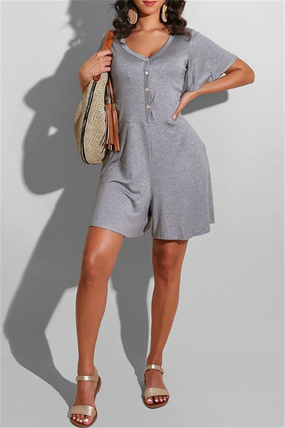 Casual Solid Color Button Front Romper