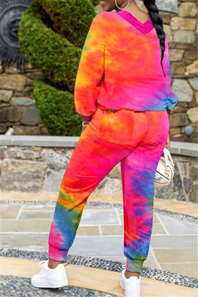 Casual V Neck Tie Dye Sets