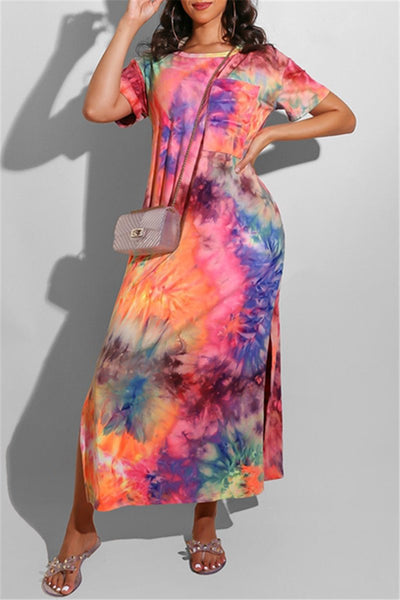 Casual Tie Dye Split Dress