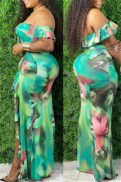Tie Dye Hollow Out Split Dress