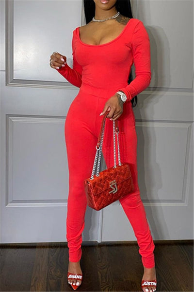 Solid Color Off Shoulder Bodycon Sets
