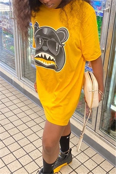Casual Cartoon Printed Dress