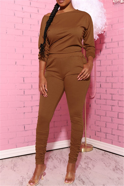 Sloping Shoulder Top& Ruched Pants Sets