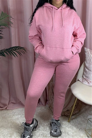 Solid Color Hoodie& Pants Sporty Sets