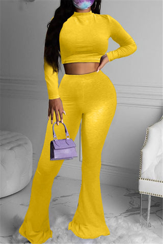 Solid Color Top& Flare Pants Sets