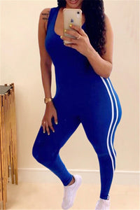 Stripe Splicing Sporty Jumpsuit