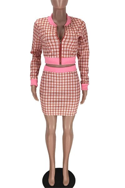 Lattice Jacket& Short Skirt Sets