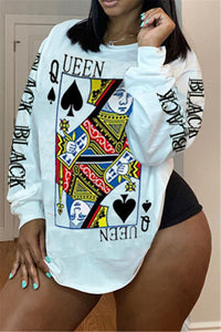 Casual Poker Printed Top