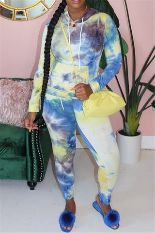 Tie Dye Hoodie& Pants Sets With Pocket