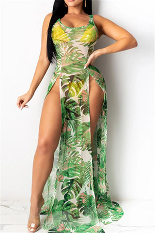 Flower Printed Net Yarn Split Beach Dress