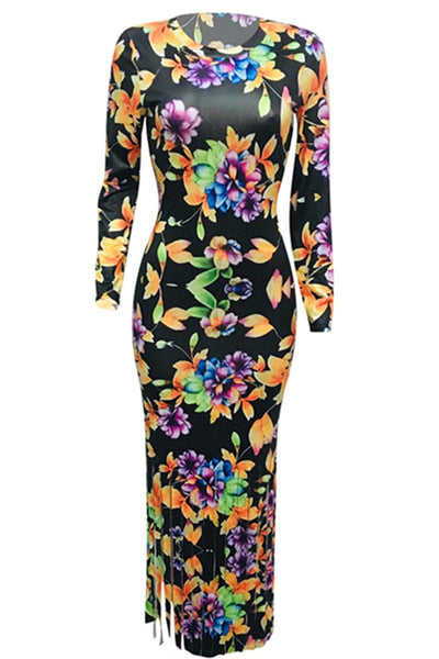 Flower Printed Tassel Splicing Dress