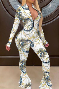 Printed Long Sleeve Flare Jumpsuit