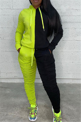Color Splicing Ruched Hoodie& Pants Sets