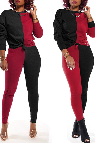 Color Splicing Long Sleeve Sporty Sets