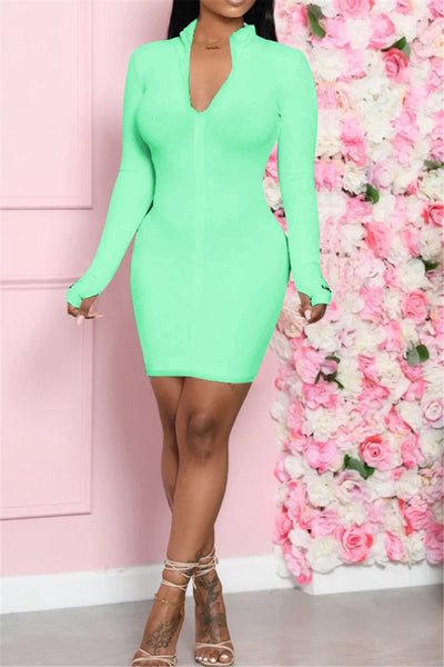 Solid Color Long Sleeve Zipper Dress
