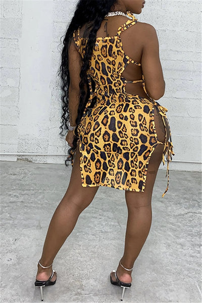 Leopard Printed Bandage Mini Dress