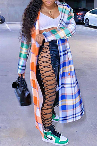 Color Splicing Lattice Maxi Coat