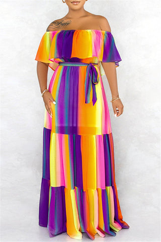 Casual Printed Maxi Dress With Belt