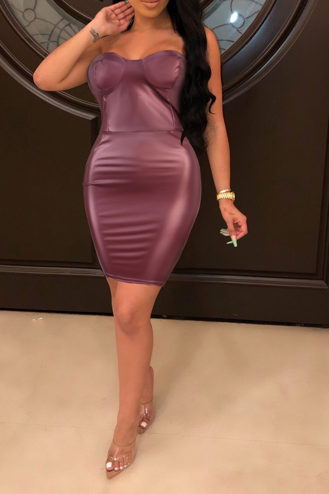 Solid Color PU Tube Mini Dress