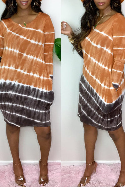 Casual Tie Dye Long Sleeve Dress