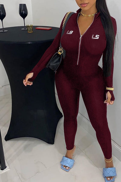 Solid Color Zipper Embroidery Jumpsuit