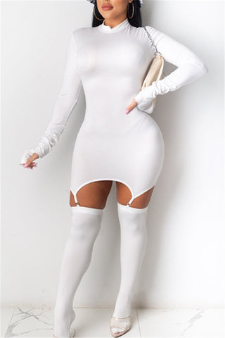 Solid Color Dress With Stocking