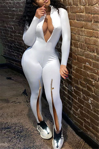 Solid Color Zipper Leg Jumpsuit