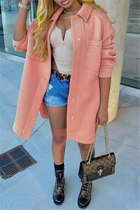 Solid Color Woolen Coat