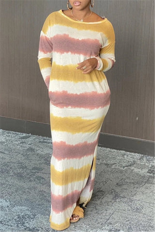 Casual Stripe Printed Split Dress