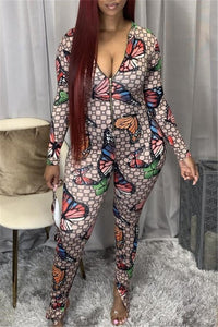 Butterfly Printed Zipper Jumpsuit
