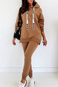 Solid Color Split Hoodie Sets