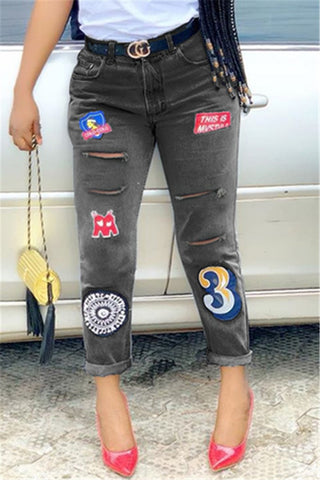 Letter Embroidery Denim Pants