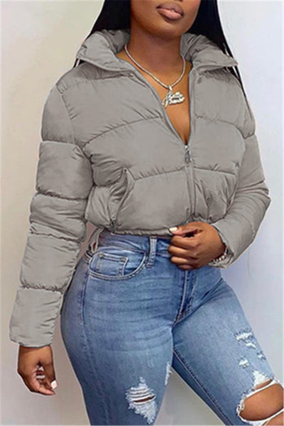 Solid Color High Collar Thick Jacket