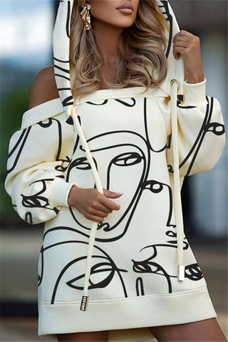 Hollow Out Printed Hooded Dress