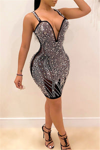 Pearl Studded Rhinestone Party Dress
