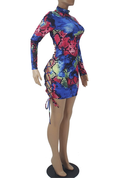 Snakeskin Printed Bandage Mini Dress