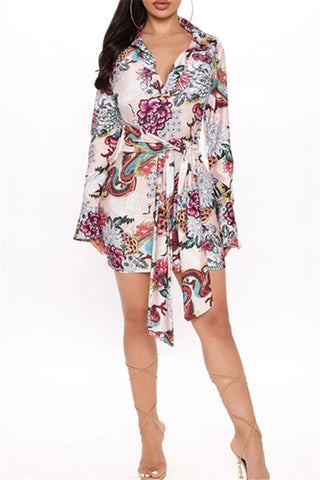 Flower Printed Dress With Belt